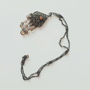 Delicate Art Nouveau Cascading Dangle Necklace